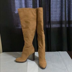 Camel Faux Suede Over the knee Boots